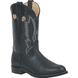 "Black Bullhide/Black Deertan 12"" 8081 Canada West FIne Rib Soles Men's BRAHMA EZ-Flex Ropers"