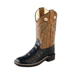 Old West Cowboy Boots Childrens TPR Outsole Black Crackle VB9112