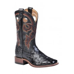 Boulet wide square toe Black Ostrich boot 8526
