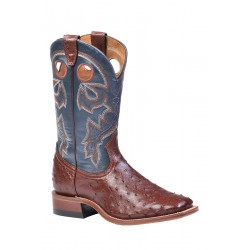 Ostrich boot - Boulet wide square toe Cigar 8523
