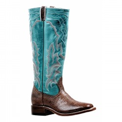 "Boulet Ladies 16"" Stovepipe Noce Taurus West Turqueza Wide Square Toe Boot 6336"