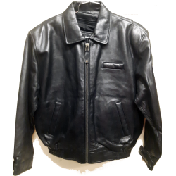 Mens Black Casual Leather Jacket with Zipout Liner