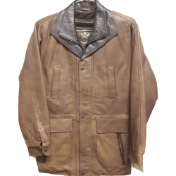 Mens Soft Casual Leather Jacket Tan color with Dark brown collar.