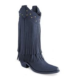 Old West LF1586 Black Nubuck Fringed Ladies boots