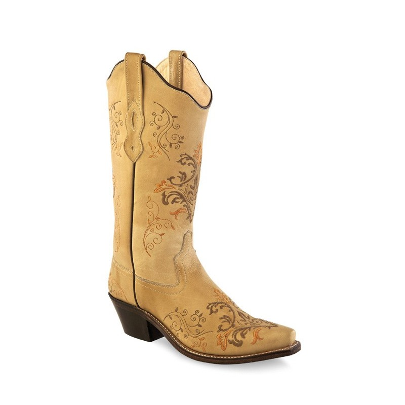 0118bfa7303a Old West LF1588 Ladies Vintage Cream Boots. Loading zoom