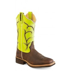 Old West 18114 Brown/Light Green Ladies Broad Square Toe