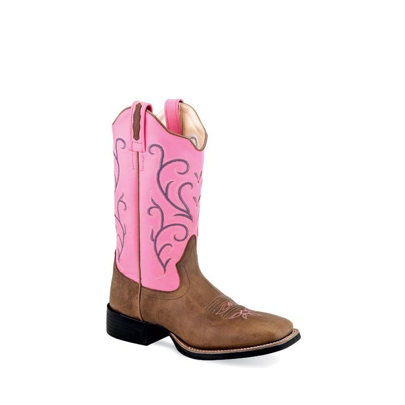 34691487d0c Old West 18119 Tan Fry Foot w Pink Shaft Ladies Broad Square Toe