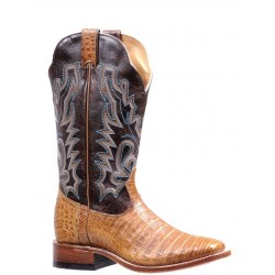 BOULET Ladies Chocolate Belly Caiman Wide Square Toe Exotic 3510