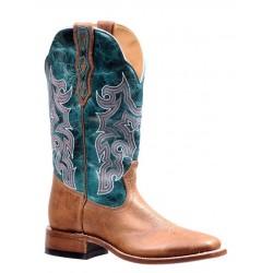 "Boulet Ladies 12"" BISON vintage Rust Faraon Turqueza Wide Square Toe Boot 7229"