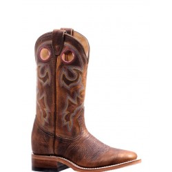 "BOULET 12"" Ladies Bison Shrunken Old Town Rough Rider Amber Gold Wide Square Toe boot 7245"