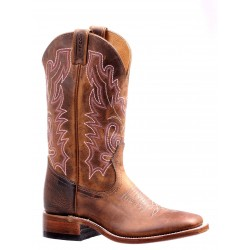 """Boulet 12"""" LADIES DOUBLE STITCH HillBilly Golden WIDE SQUARE TOE RIDER SOLE 7220"""