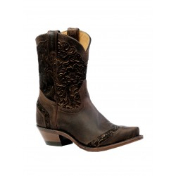 "Boulet 8"" Ladies Selvaggio Wood Art Calf Split Tabac Snip Toe Boot 4631"
