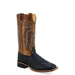 OLD WEST - Mens Black Faux Horn back Gator Print Broad Square Toe Boot BSM 1885