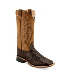 OLD WEST - Mens Brown Faux Horn back Gator Print Broad Square Toe Boot BSM 1886
