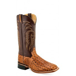 OLD WEST - Mens Tan Faux Horn Back Gator Print Broad Square Toe Boot BSM 1887