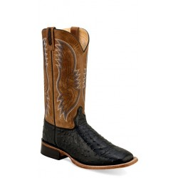 OLD WEST - Mens Tan Faux Ostrich Print- Tan Fry Broad Square Toe Boot BSM 1815