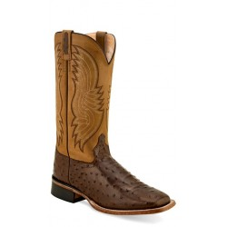OLD WEST - Mens Cigar Faux Ostrich Print- Tan Canyon Broad Square Toe Boot BSM 1816