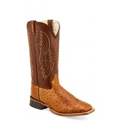 OLD WEST - Mens Cognac Faux Ostrich Print- Light Burnish Pecan Broad Square Toe Boot BSM1817
