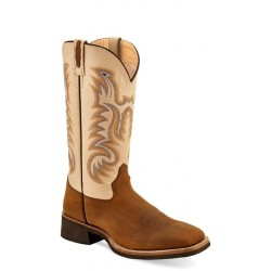 OLD WEST - Mens Light Brown Foot - Oyester Crystal Broad Square Toe Boot BSM 1819