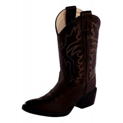 Old West 8134CH Childrens Brown Canyon Corona Calf Western Pointy Toe Boots