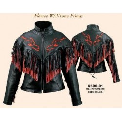 Ladies Red/Black Fringe Naked Leather Jacket