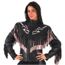 Ladies Pink/Black Fringe Naked Leather Jacket