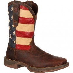 "Rebel by Durango Men's DB5554 11"" Brown/Union Flag Pull-on Western boot with DSS"