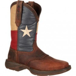 "Rebel by Durango Men's DB4446 11"" Brown/Texas Flag Pull-on Western boot with DSS"