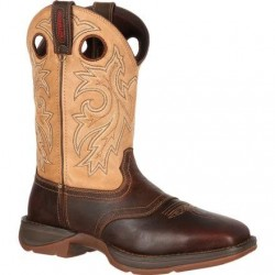 "Rebel by Durango Men's DB4442 11"" Waterproof Brown/Tan Pull-on Western boot with DSS"