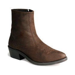 Distress Brown Men's Zipper Western Ankle Boot - Mz7082