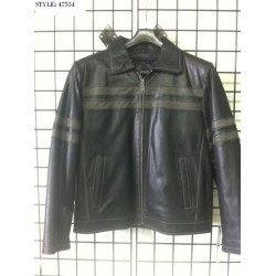 Leather jacket with twin strips 47534