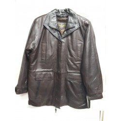 Mens Soft Casual Brown Leather Jacket with black collar- Zipout Liner