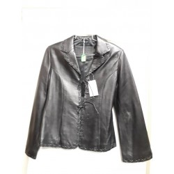 Ladies tiedown leather jacket Black