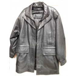 Mens Soft Casual Greenish Leather Jacket with brown collar- Zipout Liner