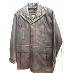 Mens Soft Casual Brown Leather Jacket with Dark brown collar- Zipout Liner