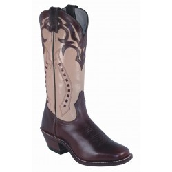 "BOULET Ladies 13"" Ranch Hand Tan Vintage square toe boot 4123"
