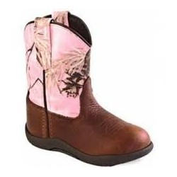 Old West Rubber Sole Pink Camo Round-Toe Boots TB2215i