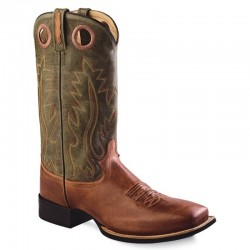 Broad Square Toe Boot Tan / Dark green BSM1874