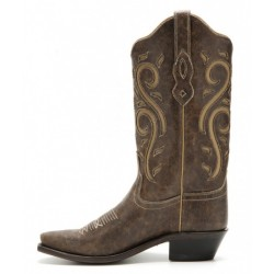 Ladies Brown Leather boot with details Old West LF1577
