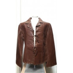 Ladies tiedown leather jacket Chocolate Brown