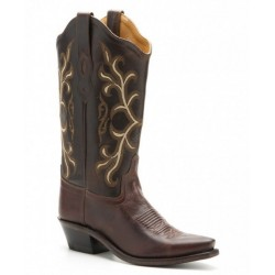 Ladies Brown Leather combination boot LF1571
