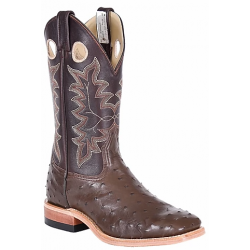 Canada West 8217 Nicotine Full Quill Ostrich / Brown BRAHMA Ranchman Ropers