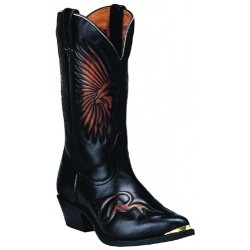 Boulet's Challenge Palemo Brown w Indian Head Design Western Boot -7809