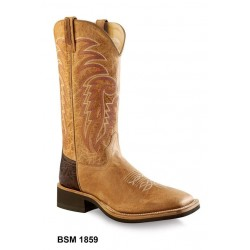 Tan Fry foot & brown shaft - Mens Broad Square Toe Boot BSM 1859