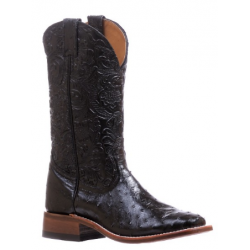 "Boulet Ladies 13"" Ostrich Dankan Black wide square toe boot 5525"