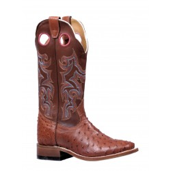Boulet Ladies Smooth Ostrich Maddog Brandy Wide Square Toe Boot 5526