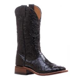 Boulet Ladies Smooth Ostrich Dankan Black Wide Square Toe Boot 5527