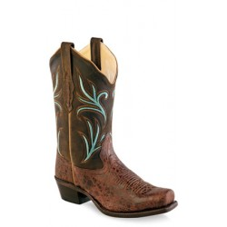 Old West -Brown truffle -Oily Ladies Medium Square Toe Fashion Wear Boot - 18010