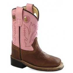 Jama Old West Toddlers' Canyon Brown & Pink Western Boot with Square Toe (BSI1839)