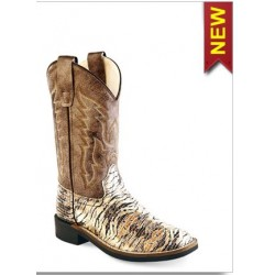 Old West VB9117 Kids Chocolate Lizard Broad Square Toe Boot